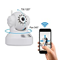 Wireless IP Camera, Home Security Camera Indoor Baby Monitor WiFi 720P HD Surveillance System Camera with Night Vision And Email Alert (White)