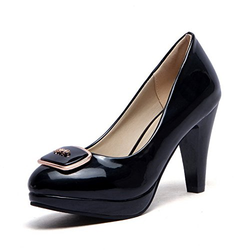 Black Patent Heels on Shoes Leather Pull Pumps Round WeiPoot Solid High Toe Women's Closed SwYHHqaO