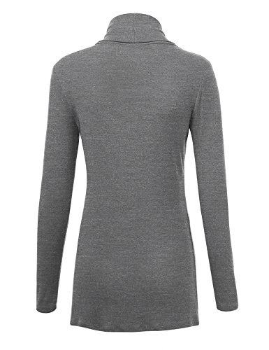 Lock and Love WSK1301 Womens Open Draped Knit Shawl Cardigan M Heather_Dark_Grey by Lock and Love (Image #2)