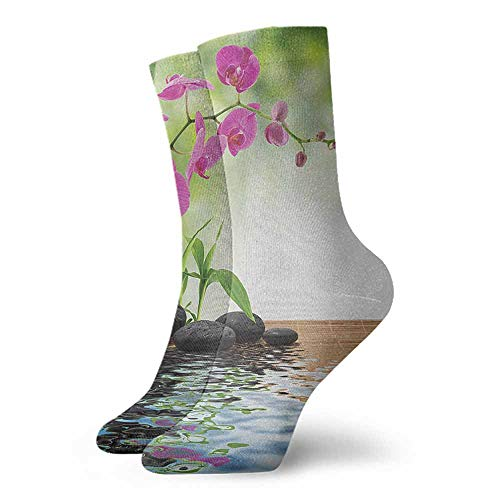 New Business Sox Spa,Composition Bamboo Tree Floor Mat Orchid Stones Wellness Greenery,Fuchsia Charcoal Grey Lime Green,socks women cotton (Sox Ladies Charcoal)