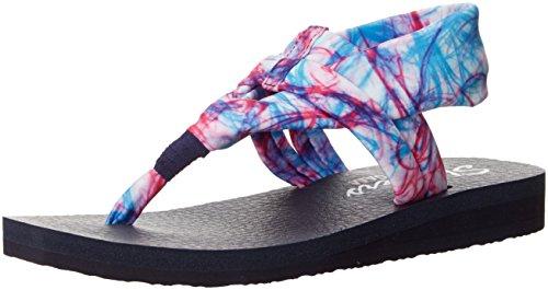 Skechers Cali Women's Meditation Time Warp Toe Ring Sandal, White/Multi, 9 M US