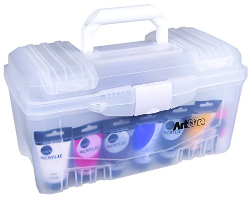 (ArtBin Transparent 6918AH 17 Inch Twin Top Art Supply Storage Box, Clear)