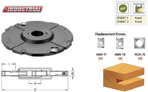 Amana Tool 61360 Insert Carbide Adjustable Grooving Head with Scorers, 160mm D x 8.0 to 15.0mm CH x 1-1/4 - Grooving Head Adjustable