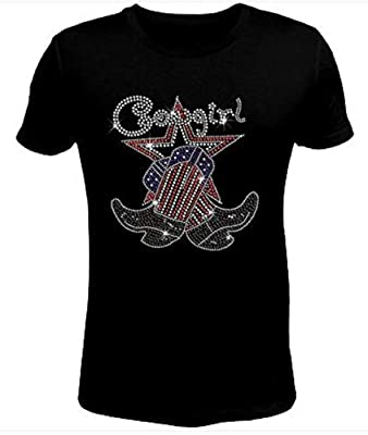 Just Bad Ass T Shirts Bling Rhinestone Womens T Shirt Cowgirl with Sparkling Boot JRW-502