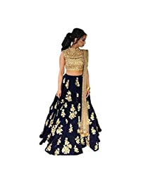 Embroidered Semi Stitched Lehenga, Choli and Dupatta Set (Blue)