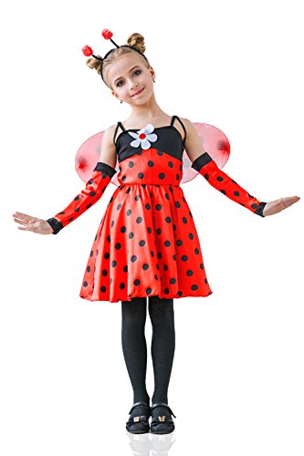 [Kids Girls Red Ladybug Halloween Costume Ladybird Love Bug Dress Up & Role Play (3-6 years, red,] (Ladybug Costume Makeup)