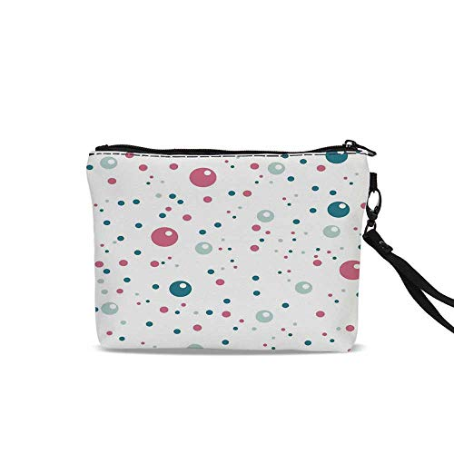 (Abstract Cosmetic Bag Pouch,Bubble Like Big and Little Polka Dots in Pastel Colors Modern Rounded Design For Women Girl,9