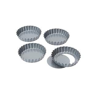 Baker's Pride - Molde para tartaletas o mini quiche (4 unidades, 10 cm, antiadherentes, base extraíble)