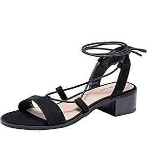 Women's Wide Width Heeled Sandals – Comfortable Lace up Fringed Tassel Ankle Strap Suede Dress Summer Shoes.