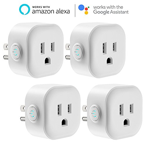 WiFi Smart Plug, Maxcio Mini Wireless Mini Remote Control Outlet with Timing Function, Compatible with Alexa and Google Home, No Hub Required - 4 Packs