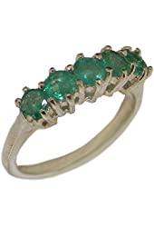925 Sterling Silver Natural Emerald Womens Eternity Ring - Sizes 4 to 12 Available