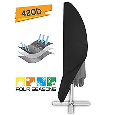 Offset Umbrella Cover, Patio Umbrella Cover for 9ft to 13ft Cantilever Parasol Outdoor Market Umbrellas Cover with Zipper and Water Resistant Fabric Dark : Garden & Outdoor