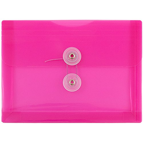 JAM PAPER Plastic Envelopes with Button & String Tie Closure - Index Size - 5 1/2 x 7 1/2 - Fuchsia Pink - 12/Pack