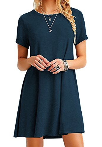 Tops Corta T Casual De shirt 01 Loose Mujeres Omzin Dark 4xl S Dress Manga Plus Size Blue qwYxIAtY0