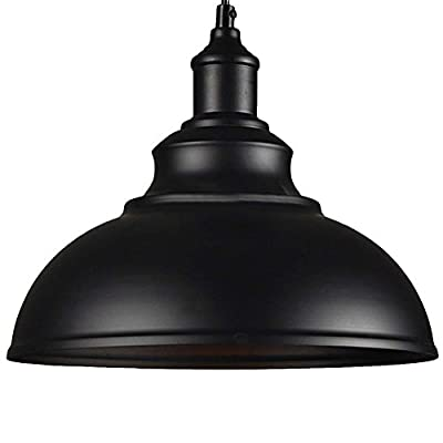 Industrial Ceiling Light, SUN RUN Creative Retro Light Fixture Chandelier Vintage Metal Semi Flush Mount Pendant Lamp with Painted Finish for Dining Room Kitchen, Black
