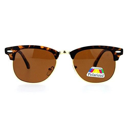 SA106 Polarized Antiglare Lens Half Rim Classic Clubmaster Sunglasses Tortoise - Cia Sunglasses
