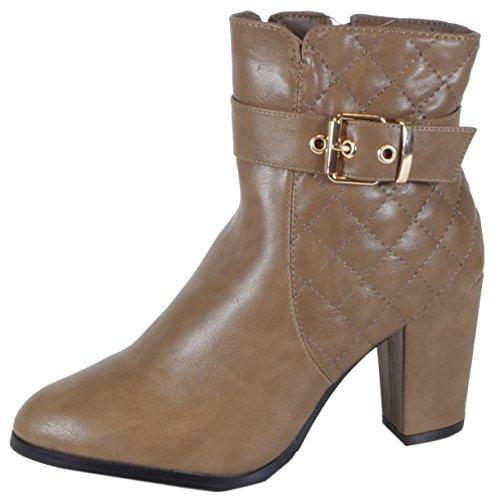 Gris top Trendboutique Femme Hi Beige Steppmuster Sneakers Khaki wIw7R