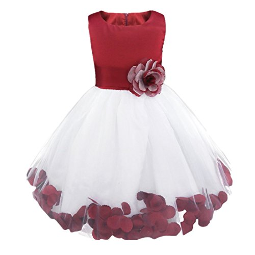 iiniim Girls Petals Tulle Princess Wedding Pageant Party Flower Girl Dress Orange Petals 8]()