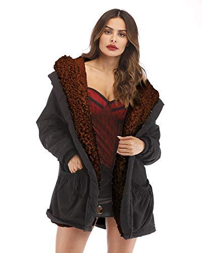 Roiii Women's Teddy Bear Casual Shearling Coat Jacket Long Sleeve Lapel Fluffy Fur Outwear (S, Brown) ()