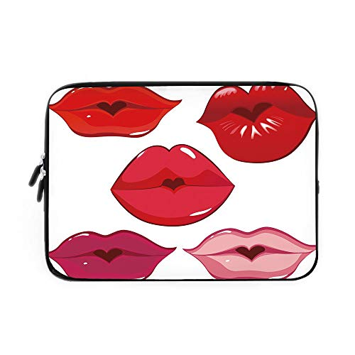 (Kiss Laptop Sleeve Bag,Neoprene Sleeve Case/Woman Sexy Lip Heart Shape Kiss Female Valentine Affection Amour Make Up Decorative/for Apple MacBook Air Samsung Google Acer HP DELL Lenovo AsusRe)