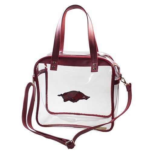 University of Arkansas Razorbacks Capri Designs Clearly Fashion Licensed Clear Carryall Tote Meets Stadium Requirements by CLEARLY FASHION
