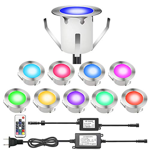 CHNXU RGB LED Deck Lights Kit with Transformer and Remote Control, IP67 Waterproof Φ1.18'' 12V Low Voltage Color-Changing Recessed In-ground Stair Step Pathway Outdoor Landscape Lighting (10 Pack)