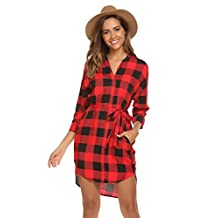 Meaneor Women's Casual 3/4 Sleeve Belted Plaid Loose T Shirt Mini Dress