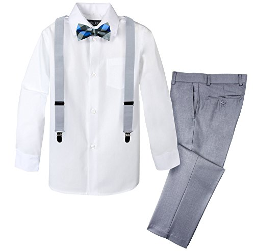 Spring Notion Boys' 4-Piece Patterned Dress up Pants Set 7 Light Grey/Silver]()