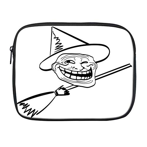Humor Decor Compatible with Nice iPad Bag,Halloween Spirit Themed Witch Guy Meme LOL Joy Spooky Avatar Artful Image for Office,One Size -