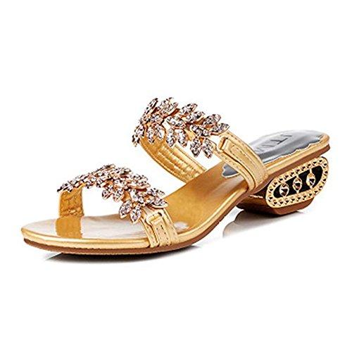 Rhinestone Wedges golden Sandals T Dress Women Open Sparkle JULY Heels Wedding Glitter Shoes Toe on Flower Slip Platform TqIqEt