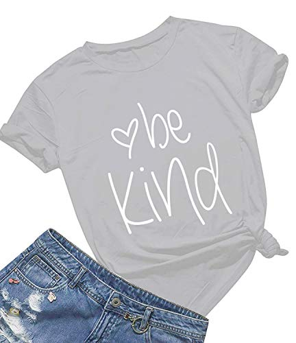 (Be Kind T Shirts Women Cute Graphic Blessed Shirt Funny Inspirational Teacher Fall Tees Tops (L, Grey01))