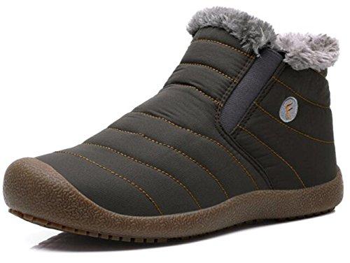 DADAWEN Men Women Slip On Waterproof Outdoor Anti-Slip Fur Lined Ankle Snow Boots Gray Women US Size 7