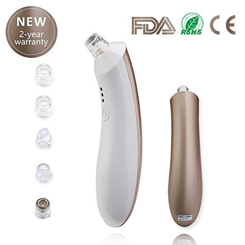 Blackhead Remover Pore Vacuum, Electric Skin Facial Pore Cleanser USB Rechargeable Blackhead Sucker tool Blemish Extractor Comedones Acne Removal Machine for Nose Face Women Men Gold