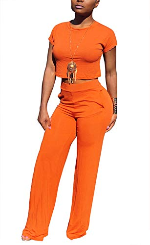 (Women Solid O-Neck Short Sleeve Crop Tops High Wairst Flare Long Pants Jumpers 2 Piece Outfits)