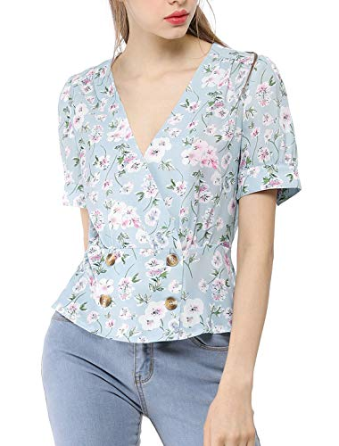 Allegra K Womens' Floral Short Puff Sleeves V Neck Vintage Button Wrap Peplum Blouse Blue M (US ()
