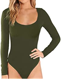Women's Basic Solid Bodysuit Single Breasted Long Sleeve...