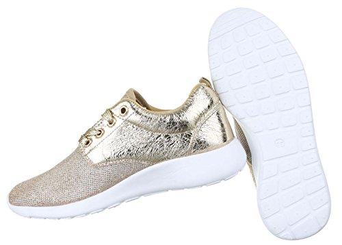 Damen Freizeitschuhe Schuhe Runner Sportschuhe Low-top Sneakers Schwarz Gold silber 36 37 38 39 40 41 Gold