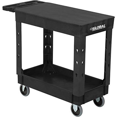 Industrial Service & Utility Cart, Plastic 2 Shelf Flat Black, 38