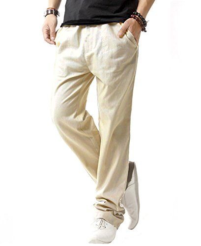 SIR7 Men's Linen Casual Lightweight Drawstrintg Elastic Waist Summer Beach Pants Beige 2L