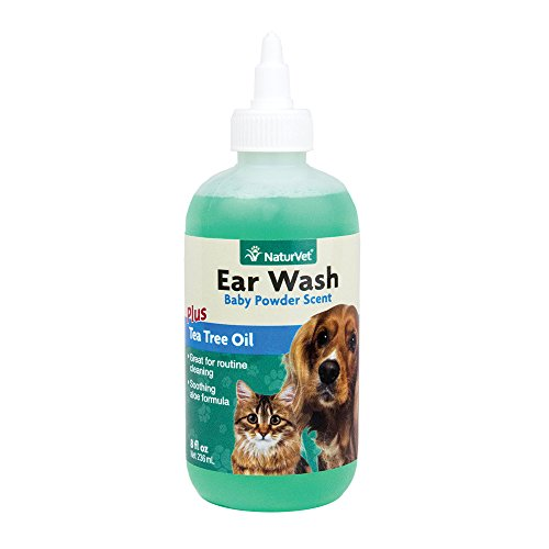 NaturVet - Ear Wash Liquid - Plus Tea Tree Oil | Gentle Formula Dissolves Ear Wax & Removes Debris | Enhanced with Aloe & Baby Powder Scent | for Dogs & Cats | 8 oz