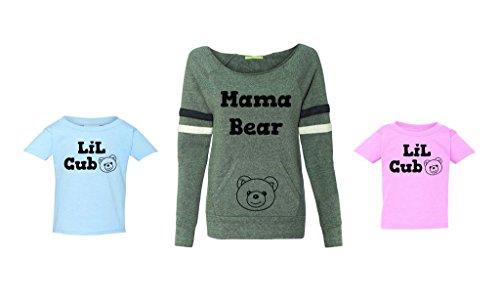 Fasciino Mama Bear and Lil Cub Family Matching Tops Sweatshirt/T-Shirt