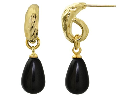 SEA-Smadar Eliasaf Black Drops Dangled Earrings With 24k Gold Plating