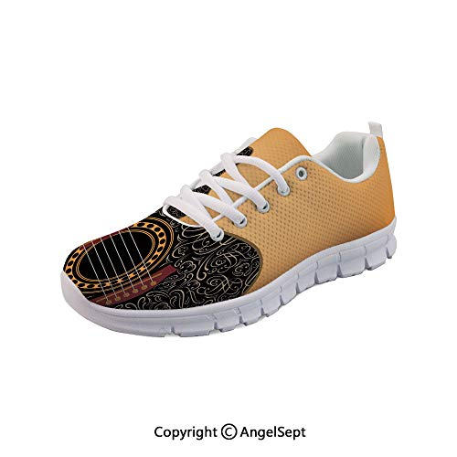 oobon Women's Sneakers Guitar with Vintage Floral Musician Casual Sport Run Shoes (Top Ten Best Guitar Solos Of All Time)