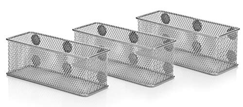Magnetic Wire Mesh Organizer Baskets - Set of 3 - Silver - Supply Holders for Office, Locker, Fridge - Convenient Storage for Pencils, Pens, Markers, Supplies - Keep Desks & Counters Clutter Free