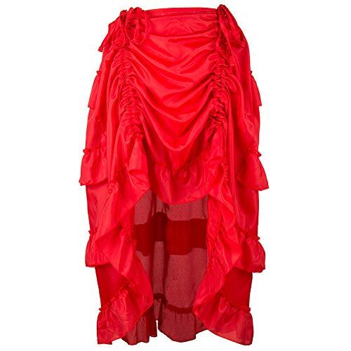 Rd Axle - Women's Steampunk Gothic Skirt Ruffles Pirate Skirt RD/XL