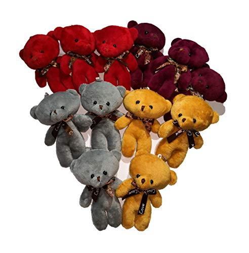 Plush Teddy Bears Stuffed Animals Soft Toy (1 dozen) - Bulk, 4 Colours, Party Favor for Kids Children]()