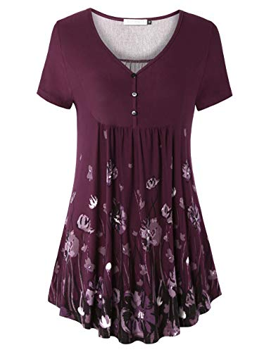 (BAISHENGGT Women's V Neck Buttons Pleated Flared Tunic Tops Purple Floral #2 XL)