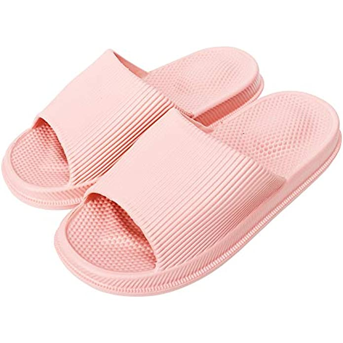 Laupha Women/Men Slippers Massage Cozy House Slippers Indoor Sandal Anti-Slip Indoor Bathroom House Gym Slippers Soft Thick Sole Shower Shoes Breathable Super Light