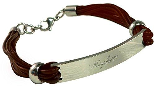 Luxury Engraved Gifts UK Men's Nephew Brown Leather & Steel Identity Id Bracelet In Gift Box BR15