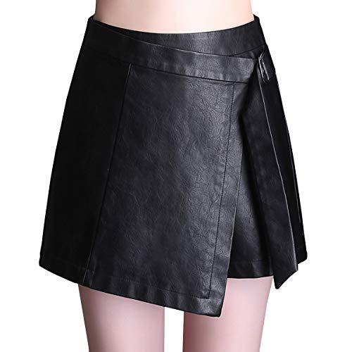 E-Girl FS616 Jupe Club Mini Short Grande Taille Cuir PU Noir
